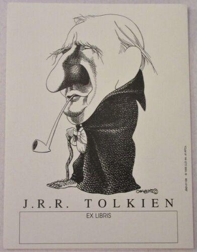 VINTAGE 1995 SINGLE BOOKPLATE J.R.R. TOLKIEN CARICATURE
