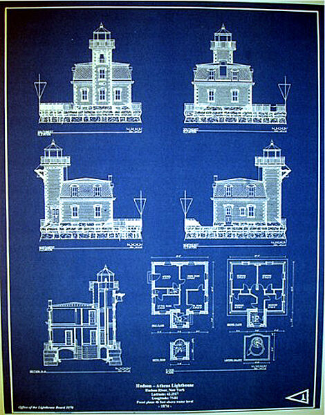 "Hudson Athens New York LIGHTHOUSE Builders Blueprint Plan 17""x21.75""  (274)"