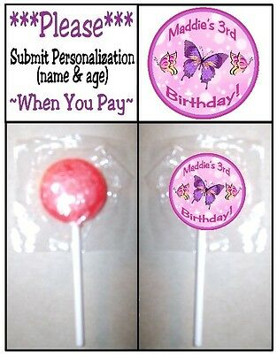 24 Butterflies Butterfly Birthday Party OR Baby Shower Lollipop Stickers Favors - Butterfly Party Favors