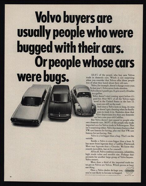 1968 VOLVO Cars - VOLKSWAGEN BEETLE - People whose Cars were Bugs - VINTAGE AD