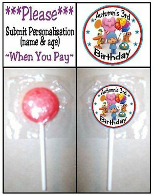24 Pocoyo Birthday Party Lollipop Stickers Favors Invitation Seals Play Doh Tub