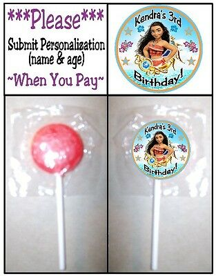 24 Moana Birthday Party or Baby Shower Lollipop Stickers Favors Princess - Princess Baby Shower Party Favors