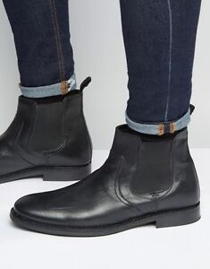 Brand New Red Tape Men's Black Leather Chelsea Boots Sz 10