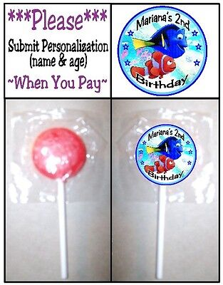 24 Finding Dory Birthday Party or Baby Shower Lollipop Stickers Favors - Nemo Baby Shower