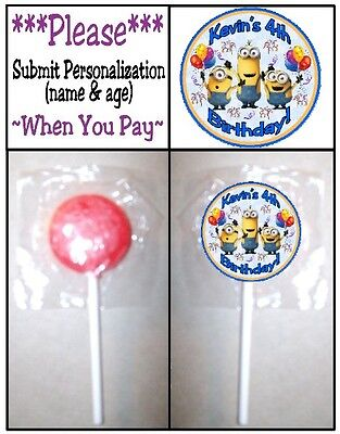24 Despicable Me Minions Birthday Party Lollipop Sticker Invitation Seal - Despicable Me Invitation