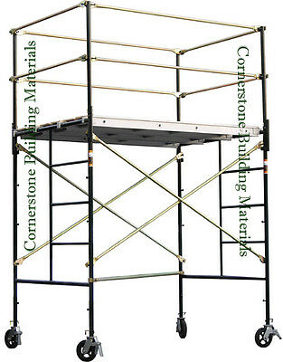 Heavy Duty Scaffold Rolling Tower 5 X 7 X 74 Standing Deck High W Railing