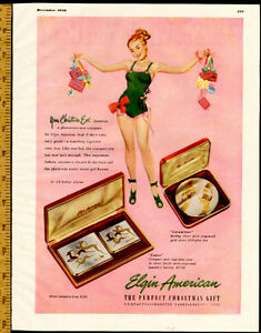 Large 1948 original, color print ad for Elgin Gifts