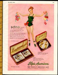 Large 1948 original, color print ad for Elgin Gifts
