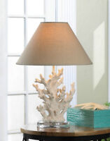 Table Lamp Sculpted Undersea Coral Branch Base Fabric Shade New