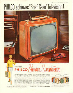 1958 full-page color magazine ad - Philco Brief Case Television