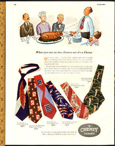 1948 full-page magazine ad for Cheney Brothers Neckties