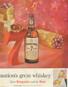 Large (10 ½ by 13 ½ ) 1958 full-page color ad for Seagram's 7