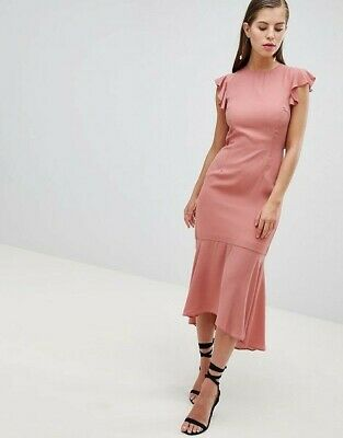 Hope & Ivy Lattice Back Pink Pencil Dress with Ruffle Size 6