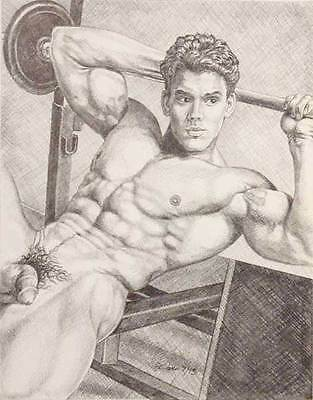 """9"""" x 12"""" drawing print nude male from vintage weight lifting gay art"""