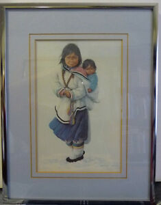 "Inuit Painting by Dorothy Francis ""Paneeloo's Baby Brother"" Lith"