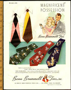 1948 full-page (10 ¼ x 13 ¼ ) magazine ad for Beau Brummell Ties