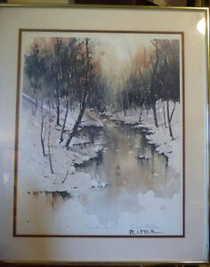 "Winter Landscape Signed,Numbered,  by Paul Mathews, ""Winter Sun"" Stratford Kitchener Area image 1"