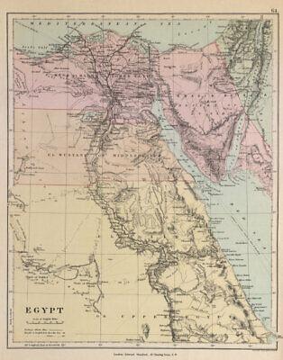 Egypt. Nile valley Sinai Red Sea Gulf of Aqaba Sharm el-Sheik STANFORD c1877 map