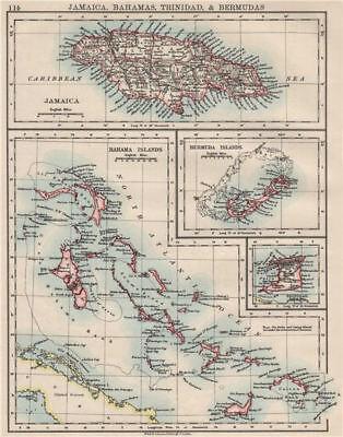 CARIBBEAN/ATLANTIC ISLANDS.Jamaica Bermuda Bahamas Trinidad.  JOHNSTON 1900 map