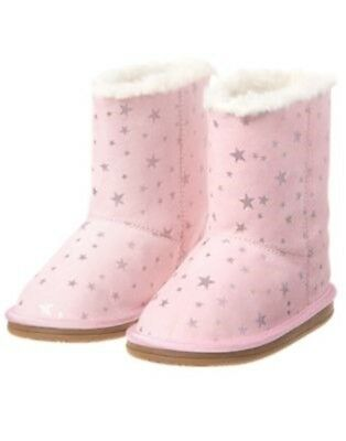 GYMBOREE STARRY NIGHT LIGHT PINK w/ SILVER STARS A/O BOOTIES 8 9 10 NWT