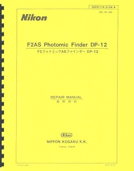 Nikon Photomic Finder DP-12 Service Repair Manual For F2AS Reprint - $20.00