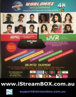 WorldMAX 4K INDIAN,BANGLA,NEPALI,ARABIC,TURKISH IPTV Box ,Dealer,wty