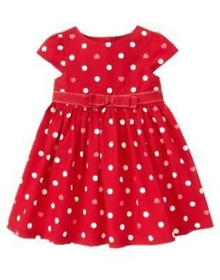 GYMBOREE VALENTINES DAY RED w DOTS WOVEN DRESS 12 18 24 2T 3T 4T 5T NWT