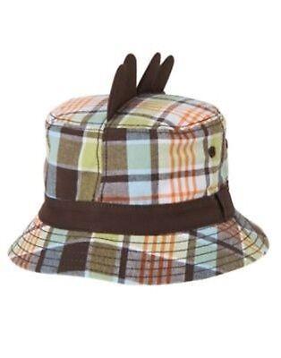 GYMBOREE DINO MIGHTY PLAID DINOSAUR  BUCKET HAT 0 12 24 2T 3T 4T 5T NWT - Dinosaur Hat