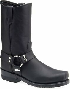 Double-H-mens-10-black-harness-motorcycle-boots-Blacks