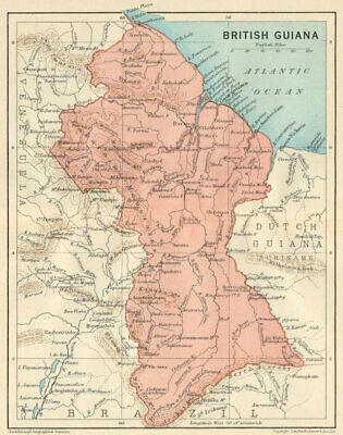 BRITISH GUIANA (GUYANA). Vintage map. Guyana. Caribbean 1931 old vintage