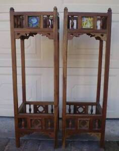 2 SUPERB ORIENTAL? CARVED WOOD PLANT STANDS WITH MIRRORS & TILES Gnangara Wanneroo Area Preview