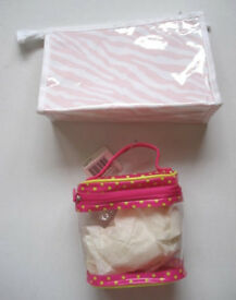2 Pink Cosmetic & Toiletry Bags; Pyramid & Oval Shaped