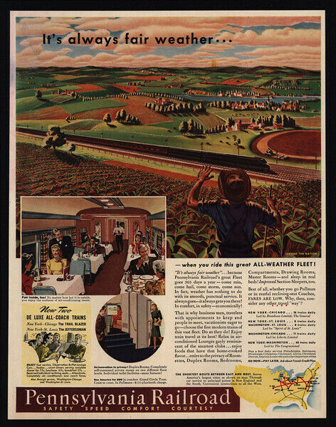 1941 PENNSYLVANIA Railroad - WWII - Train - Farmer - VINTAGE AD