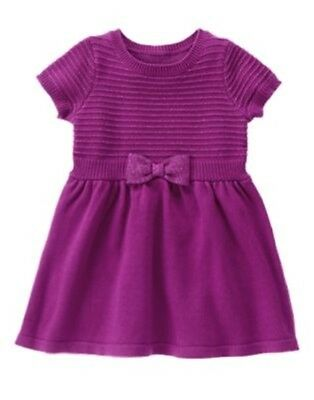 GYMBOREE PLUM PARTY MAGENTA SPARKLE STRIPE BODICE SWEATER DRESS 12 18 24 3T NWT - Plum Party