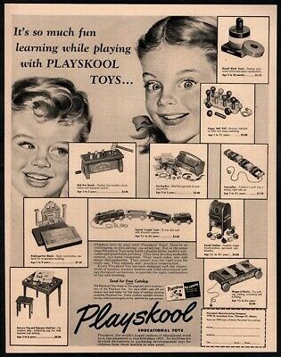 1952 PLAYSKOOL Educational Toys - Kids Excited About Christmas Toys VINTAGE AD ()