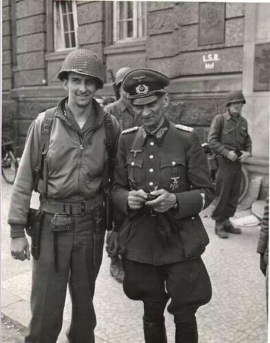 American Soldier Poses With German general after Surrender WW2 WWII Re-Print 5x7