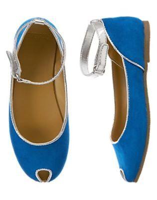 NWT Gymboree Seaside Stroll Blue  Dress Shoes Peep Toe Flats 9  10 11 12 13 Girl (Blue Girls Dress Shoes)