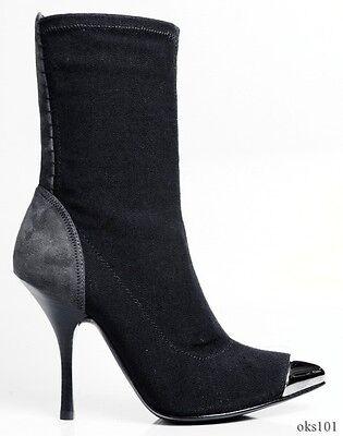 new $795 Giuseppe ZANOTTI black stretch metal toe ANKLE BOOTS 35.5 5.5 - AMAZING