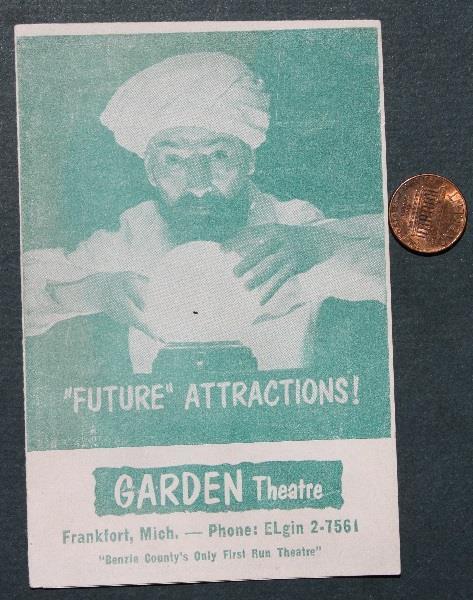1956 Frankfort Michigan Garden Theatre 8 movie brochure with 2 James Dean Films!
