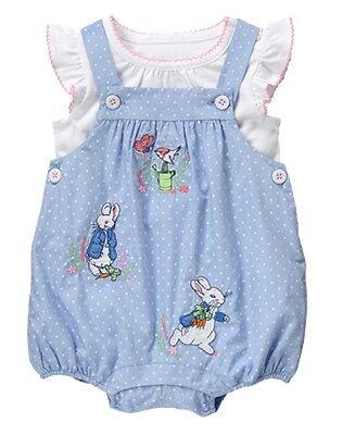 NWT Gymboree Peter Rabbit Romper set 3 6 12 18 24mo Baby Girl