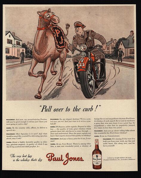 1942 PAUL JONES Whiskies - Camel - Motorcycle Cop - Police Pull Over  VINTAGE AD