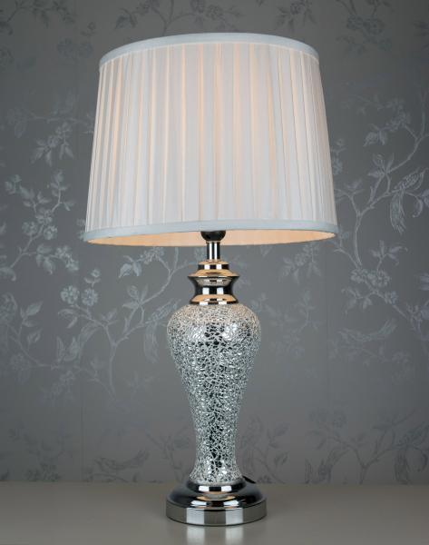 Enjoyable Details About Large Silver Sparkle Mosaic Lamp Pleated Shade H 66 Cm Interior Design Ideas Clesiryabchikinfo