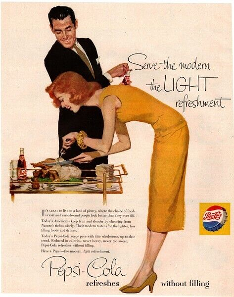 1956 PEPSI Cola - Pretty Woman - Turkey - Thanksgiving - Retro VINTAGE AD