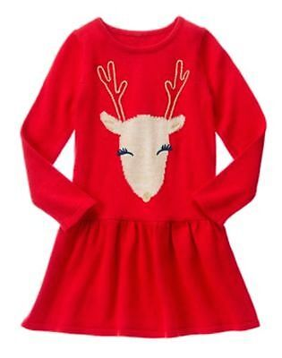 NWT Gymboree Holiday Shop Red Reindeer Sweater Dress 4 5 6 7 8 10