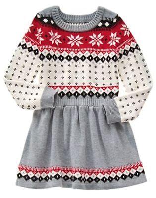 Nwt Gymboree Holiday Shop Fair Isle Sweater Dress Girls 4 6 7 8