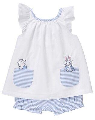 NWT Gymboree Peter Rabbit White shirt top Bloomer set 0 3 6 12 18 24mo Baby Girl
