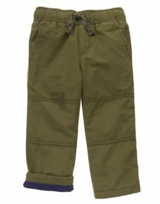 NWT Gymboree Boys Pull on Pants Gymster Fleece Lined green many sizes (Boys Fleece Lined Pants)