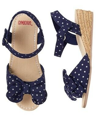 NWT Gymboree July 4th  Navy Blue Polka Espadrille Wedge Sandals Shoes Girls ](Girls Navy Blue Sandals)