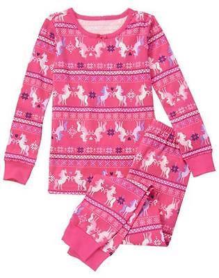 NWT Gymboree Christmas Girls Gymmies Unicorn pajamas 12 18 - Christmas Girls Pajamas