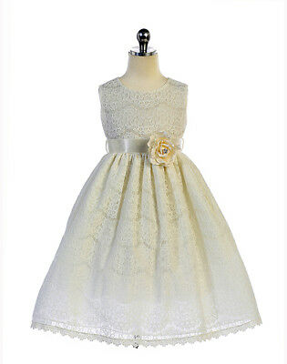 Gorgeous Ivory Lace Pageant Flower Girl Party Dress Crayon Kids USA - Gorgeous Flower Girl Dresses